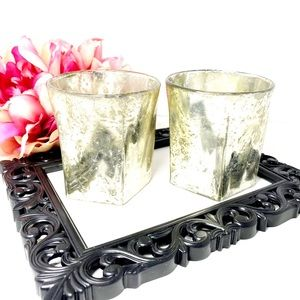 Mercury Glass Candle Holders With Tea Lights